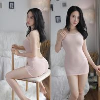 skirt Summer of 2019 Average size White, black, watermelon red, meat powder Miniskirt sexy low-waisted A-line skirt Solid color Type H 18-24 years old Hollowing out