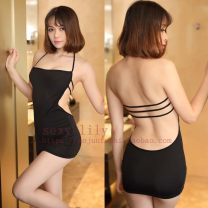 skirt Summer of 2019 Average size Black, white Miniskirt sexy High waist Little black dress Solid color Type H 18-24 years old Other / other nylon Hollowed out, bare back
