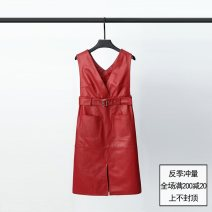 Dress Spring 2021 Black, red M,L,XL,2XL Mid length dress singleton  Sleeveless commute V-neck Solid color other A-line skirt raglan sleeve Type H Cazimo / caizimu Korean version Sheepskin Sheepskin