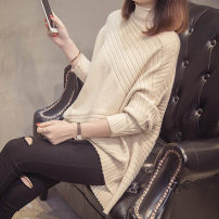 sweater Winter of 2018 S M L XL Apricot light coffee brown black Long sleeves Socket singleton  Medium length other 95% and above Half high collar thickening commute Bat sleeve Solid color Straight cylinder Regular wool Keep warm and warm 25-29 years old Luo Yifu LYF6119 Other 100%