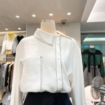 shirt White, blue S,M,L,XL Autumn of 2019 other 31% (inclusive) - 50% (inclusive) Long sleeves commute Polo collar Single row multi button routine Solid color 18-24 years old Korean version