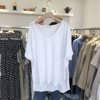 T-shirt White, black S,M,L,XL Spring 2020 Short sleeve V-neck easy Regular routine commute other 30% and below 18-24 years old Korean version Solid color