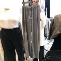 Casual pants Gray, black S,M,L,XL Spring 2020 trousers High waist commute routine 18-24 years old 30% and below other Korean version Bandage