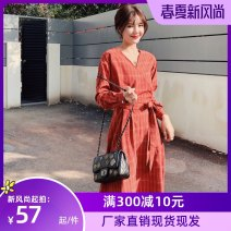 Dress Spring 2021 Tibetan blue, brick red S,XL,L,M Mid length dress singleton  Long sleeves Sweet middle-waisted lattice Socket A-line skirt routine Others 18-24 years old Type A printing other polyester fiber