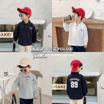 T-shirt Navy, white, gray Cotton class 80cm,90cm,100cm,110cm,120cm,130cm neutral spring and autumn Long sleeves Lapel and pointed collar leisure time There are models in the real shooting nothing other Printing MC1017 Six months, 12 months, 18 months, 2 years, 3 years, 4 years, 5 years, 6 years