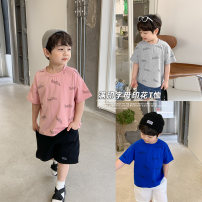 T-shirt Sapphire blue, gray, pink Cotton class 90cm,100cm,110cm,120cm,130cm,140cm neutral summer Short sleeve Crew neck leisure time There are models in the real shooting nothing other letter CX1032 Six months, 12 months, 18 months, 2 years, 3 years, 4 years, 5 years, 6 years