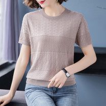 Middle aged and old women's wear Summer 2021 Black white orange Khaki S [recommended 85-100 kg] m [recommended 100-108 kg] l [recommended 109-119 kg] XL [recommended 120-130 kg] XXL [recommended 130-140 kg] XXXL [recommended 140-155 kg] commute T-shirt easy singleton  Solid color Socket thin routine
