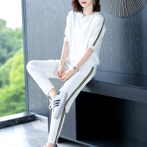 Middle aged and old women's wear Summer 2021 White green Beige Navy Black M L XL XXL XXXL commute suit easy Two piece set Solid color Socket thin Crew neck routine routine Wise and clear pocket polyester Viscose (viscose) 44.5% polyester 30.5% polyamide (nylon) 25% 31% (inclusive) - 50% (inclusive)