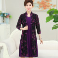 Middle aged and old women's wear Summer 2017 XL recommendation 85-100 kg 2XL recommendation 100-115 kg 3XL recommendation 115-130 kg 4XL recommendation 130-145 kg Red purple rose fashion Dress Self cultivation Two piece set other 40-49 years old Socket moderate Crew neck Medium length routine Q9807