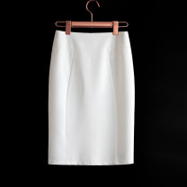 skirt Autumn of 2019 S,M,L,XL,2XL White, black, thin black Mid length dress commute High waist skirt Solid color Type H 25-29 years old 19231-4 More than 95% other other Zipper, split back Ol style 351g / m ^ 2 (including) - 400g / m ^ 2 (including)