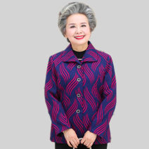 Middle aged and old women's wear Autumn of 2018, winter of 2018 XXXXL [recommended 145-160 kg, XL [recommended 90-110 kg], XXL [recommended 115-130 kg, XXXL [recommended 130-145 kg] ethnic style Jacket / jacket easy singleton  Decor Over 60 years old Cardigan moderate Polo collar routine routine