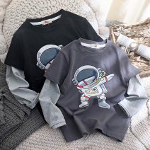 T-shirt Black, dark grey Other / other (tag 110), (tag 120), (tag 130), (tag 140), (tag 150), (tag 160) male spring and autumn Long sleeves Crew neck leisure time No model nothing cotton printing T2479 Three, four, five, six, seven, eight, nine, ten, eleven, twelve, thirteen