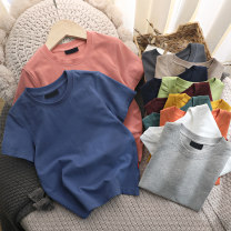 T-shirt Other / other (tag 110), (tag 120), (tag 130), (tag 140), (tag 150), (tag 160) neutral summer Short sleeve Crew neck leisure time No model nothing cotton Solid color hygroscopic and sweat releasing Three, four, five, six, seven, eight, nine, ten, eleven, twelve, thirteen Chinese Mainland