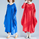 Women's large Spring of 2019 Red, blue L [100-150 Jin], XL [150-200 Jin] Dress singleton  commute easy moderate Socket Long sleeves Solid color ethnic style Crew neck Cotton, hemp Collage routine Other / other Asymmetry 81% (inclusive) - 90% (inclusive) longuette