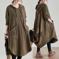 Women's large Spring 2021 Khaki, black M [recommended 95-115 kg], l [recommended 115-125 kg], XL [recommended 125-140 kg], XXL [recommended 140-160 kg] Dress singleton  commute easy moderate Socket Long sleeves Solid color Korean version Hood cotton Collage routine Other / other 25-29 years old