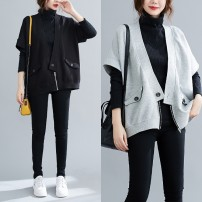 Women's large Winter 2020, autumn 2020 Average size [100-200kg recommended] Vest singleton  commute easy moderate Cardigan Short sleeve Solid color Korean version V-neck routine cotton Collage routine Other / other pocket 51% (inclusive) - 70% (inclusive) zipper