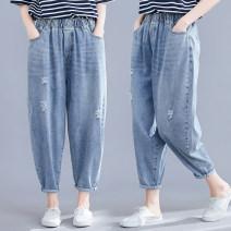 Jeans Summer 2020 Picture color M [95-120 Jin], l [120-140 Jin], XL [140-160 Jin], XXL [160-180 Jin] Ninth pants High waist Haren pants Thin money Worn, worn, washed Thin denim light colour Other / other 91% (inclusive) - 95% (inclusive)