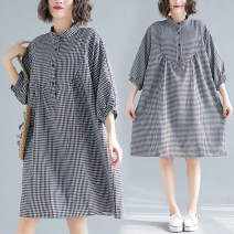Women's large Summer of 2019 Picture color L [100-160 kg], XXL [160-210 kg] Dress singleton  commute easy moderate Socket three quarter sleeve lattice Korean version stand collar Cotton, hemp bishop sleeve Other / other 51% (inclusive) - 70% (inclusive) Medium length