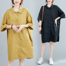 Women's large Summer 2020 Yellow, black One size fits all Dress singleton  commute easy thin Cardigan elbow sleeve Solid color Korean version Polo collar Medium length cotton Three dimensional cutting Bat sleeve Other / other pocket 51% (inclusive) - 70% (inclusive) Medium length