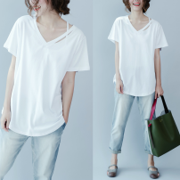 T-shirt White, black Average size [100-200kg] Summer 2020 Short sleeve V-neck easy Regular routine commute cotton 96% and above literature originality Solid color Other / other hole