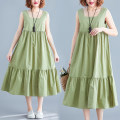 Women's large Summer of 2019 green L [95-125 kg], XL [125-150 kg] Dress singleton  commute easy moderate Socket Sleeveless Solid color Korean version square neck cotton fold Other / other 81% (inclusive) - 90% (inclusive) longuette Cake skirt