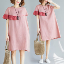 Women's large Summer of 2019 Pink Average size [100-200kg] Dress singleton  commute easy moderate Socket Short sleeve Solid color Korean version Crew neck hemp Collage routine Other / other 81% (inclusive) - 90% (inclusive) Medium length