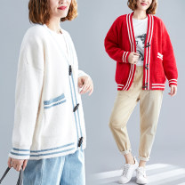 Women's large Winter of 2019 Off white, red One size fits all sweater singleton  commute easy thickening Cardigan Long sleeves Stripe, solid color Korean version V-neck Medium length Acrylic, others routine Other / other pocket 81% (inclusive) - 90% (inclusive)