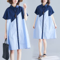 Dress Summer of 2019 blue L [100-150 Jin], XL [150-200 Jin] Mid length dress singleton  Short sleeve commute Polo collar Loose waist Solid color Single breasted A-line skirt routine Others Type A Other / other literature Button, button 81% (inclusive) - 90% (inclusive) other cotton