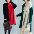 Women's large Winter 2020, autumn 2020 Red, green Large size average size [100-200kg recommended] sweater singleton  commute easy thickening Socket Long sleeves Shape, solid color Korean version Half high collar Medium length Polyester, acrylic Collage routine Other / other Asymmetry Medium length