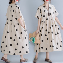 Women's large Summer of 2019 Picture color L [100-150 Jin], XL [150-200 Jin] Dress singleton  commute easy moderate Socket Short sleeve Dot Korean version V-neck hemp printing and dyeing routine Other / other pocket 81% (inclusive) - 90% (inclusive) longuette