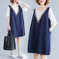Women's large Summer of 2019 Navy Blue Dress Fake two pieces commute easy thin Socket Short sleeve Stripe, solid color literature Crew neck Cotton, hemp Collage Lotus leaf sleeve Other / other pocket 81% (inclusive) - 90% (inclusive) Medium length