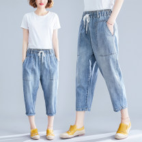 Women's large Summer 2020 wathet Jeans singleton  commute easy thin Solid color literature Denim Make old Other / other pocket 81% (inclusive) - 90% (inclusive) Cropped Trousers