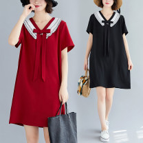 Women's large Summer 2020 Red, black L [100-140 kg], XL [140-170 kg], XXL [170-200 kg] Dress singleton  commute easy moderate Socket Short sleeve Solid color Korean version V-neck Polyester, polyester Collage routine Other / other 25-29 years old 51% (inclusive) - 70% (inclusive) Medium length other