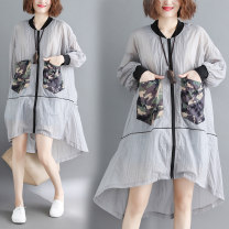 Women's large Summer of 2019 grey One size fits all Windbreaker singleton  commute easy ultrathin Cardigan Long sleeves Solid color, others Korean version stand collar Medium length polyester fiber Collage routine Other / other zipper 51% (inclusive) - 70% (inclusive) zipper