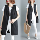 Women's large Spring of 2019 black L [100-140 Jin], XL [140-180 Jin] Vest singleton  commute easy moderate Cardigan Sleeveless Solid color literature V-neck Medium length Cotton, hemp Other / other 81% (inclusive) - 90% (inclusive)