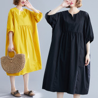 Dress Summer of 2019 Blue, yellow, black One size fits all [120-230 Jin] Mid length dress singleton  Short sleeve commute Crew neck Loose waist Solid color Socket A-line skirt routine Others Type A Other / other Korean version Splicing 81% (inclusive) - 90% (inclusive) other cotton