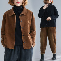 Women's large Winter 2020, autumn 2020 Average size [100-180 Jin] Jacket / jacket singleton  commute easy moderate Cardigan Long sleeves Solid color Retro Polo collar have cash less than that is registered in the accounts cotton Make old routine Other / other pocket 91% (inclusive) - 95% (inclusive)