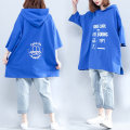 Women's large Summer of 2019 blue One size fits all T-shirt singleton  commute easy moderate Socket three quarter sleeve Cartoon, animation, letters Korean version Hood Medium length cotton printing and dyeing routine Other / other pocket 81% (inclusive) - 90% (inclusive)
