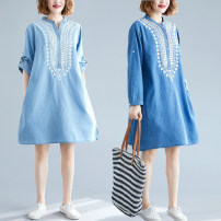Dress Autumn of 2019 Light blue, dark blue Average size [100-170 kg] Mid length dress singleton  Long sleeves commute V-neck Loose waist Abstract pattern Socket A-line skirt routine Others Type A Other / other literature Embroidery 81% (inclusive) - 90% (inclusive) Denim cotton