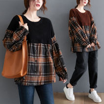 Women's large Winter 2020, autumn 2020 Light brown, black Average size [recommended 110-210 kg] sweater Fake two pieces commute easy thick Socket Long sleeves lattice Korean version Crew neck routine Cotton, acrylic Collage Bat sleeve Other / other Button 51% (inclusive) - 70% (inclusive)