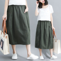 skirt Spring of 2019 M [90-115 Jin], l [115-135 Jin], XL [135-155 Jin] Army green, apricot Mid length dress Versatile Natural waist A-line skirt Solid color Type A 71% (inclusive) - 80% (inclusive) other Other / other hemp pocket