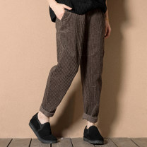 Casual pants Brown, apricot, dark grey M [90-115 Jin], l [115-125 Jin], XL [125-140 Jin], XXL [140-170 Jin], 3XL [170-200 Jin] Winter of 2018 trousers Haren pants Natural waist commute thickening 81% (inclusive) - 90% (inclusive) Other / other Korean version pocket cotton