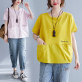 T-shirt Pink, yellow M [recommended 95-120 kg], l [recommended 120-140 kg], XL [recommended 140-170 kg], XXL [recommended 170-200 kg] Summer 2021 Short sleeve Crew neck easy Regular routine commute cotton 31% (inclusive) - 50% (inclusive) 25-29 years old Korean version Letters, stitching