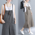 Women's large Summer 2020 Brown, grey, black XL [100-140 kg], XXL [140-180 kg] trousers singleton  commute easy moderate Conjoined Sleeveless Solid color literature One word collar Cotton, hemp Three dimensional cutting Other / other pocket 81% (inclusive) - 90% (inclusive) Cropped Trousers straps