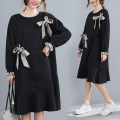 Women's large Spring 2021 black Dress singleton  commute easy moderate Socket Long sleeves Solid color Korean version Crew neck cotton Collage routine Other / other Three dimensional decoration 51% (inclusive) - 70% (inclusive) Medium length Ruffle Skirt bow