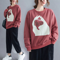 Women's large Winter 2020, autumn 2020 Red bean paste Average size [100-200kg recommended] Sweater / sweater singleton  commute easy thick Socket Long sleeves shape Korean version Crew neck routine cotton printing and dyeing routine Other / other 51% (inclusive) - 70% (inclusive)