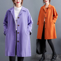 Windbreaker Spring 2021 L [100-150 Jin recommended], XL [150-200 Jin recommended] Orange, purple Long sleeves routine Medium length commute Single breasted Polo collar routine Solid color Straight cylinder Korean version Other / other pocket 51% (inclusive) - 70% (inclusive) cotton cotton