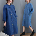 Women's large Autumn 2020 Light blue, dark blue Average size [100-200kg recommended] Dress singleton  commute easy moderate Cardigan Long sleeves Solid color Korean version Polo collar Denim Make old shirt sleeve Other / other pocket 71% (inclusive) - 80% (inclusive) Medium length
