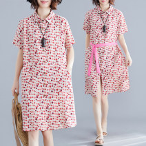Dress Summer of 2019 Decor L [100-140 kg], XL [140-170 kg], XXL [170-200 kg] Mid length dress singleton  Short sleeve commute Polo collar Loose waist Dot Single breasted A-line skirt routine Others Type A Other / other literature Lace up, printed 81% (inclusive) - 90% (inclusive) other cotton