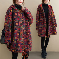 woolen coat Winter 2020 Average size [recommended 110-210 kg] gules polyester 31% (inclusive) - 50% (inclusive) Medium length Long sleeves commute zipper routine Hood Plants and flowers Straight cylinder Retro Other / other Pocket, print Solid color cotton Imitation fabric